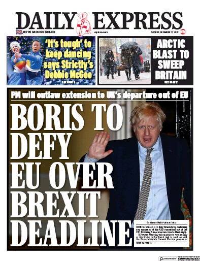 Daily Express Newspaper Front Page (UK) for 17 December 2019