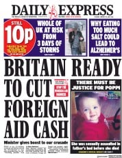 Daily Express (UK) Newspaper Front Page for 17 January 2018