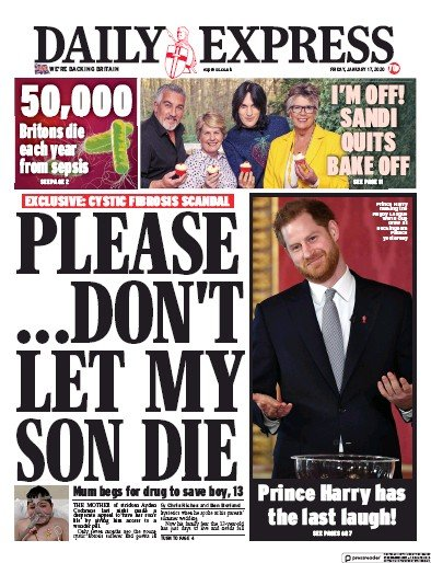 Daily Express Newspaper Front Page (UK) for 17 January 2020
