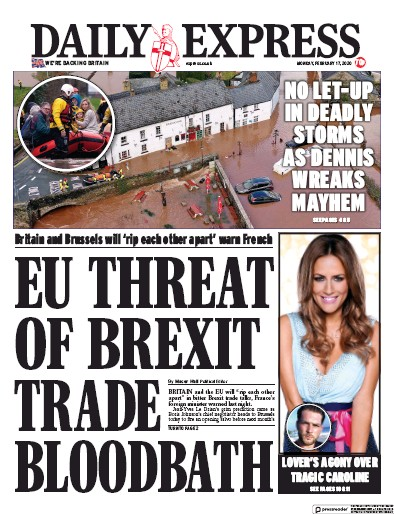 Daily Express Newspaper Front Page (UK) for 17 February 2020