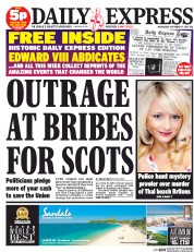 Daily Express (UK) Newspaper Front Page for 17 September 2014