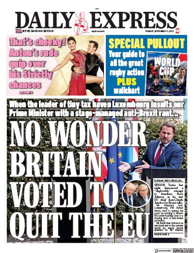 Daily Express Newspaper Front Page (UK) for 17 September 2019