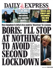 Daily Express front page for 17 September 2020