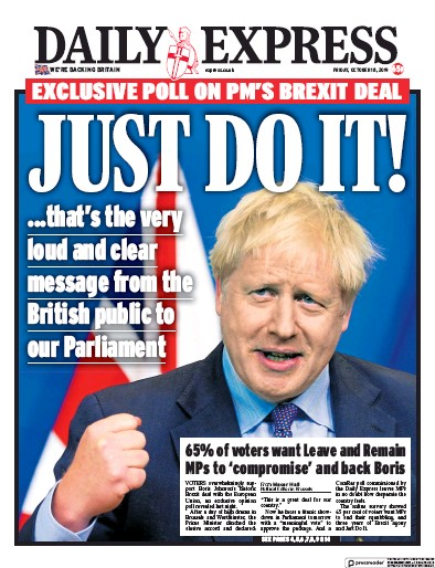 Daily Express Newspaper Front Page (UK) for 18 October 2019
