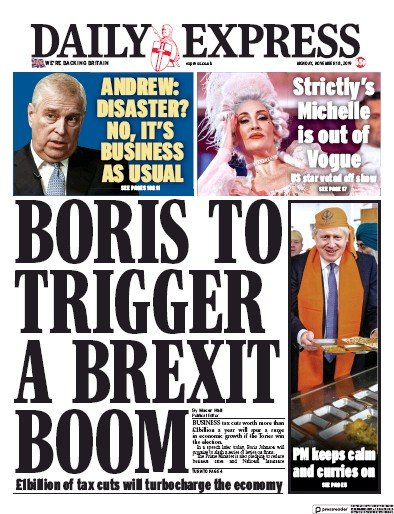 Daily Express Newspaper Front Page (UK) for 18 November 2019