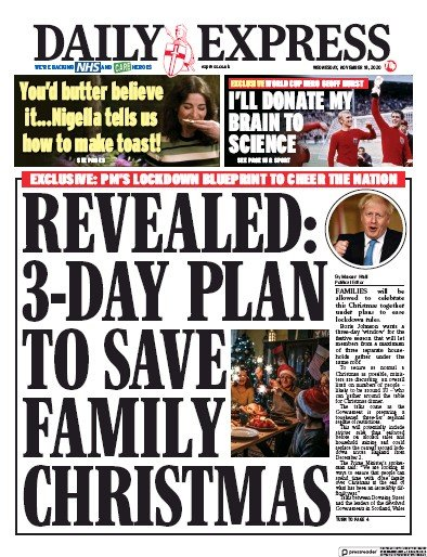 Daily Express Newspaper Front Page (UK) for 18 November 2020