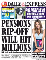 Daily Express (UK) Newspaper Front Page for 18 December 2014