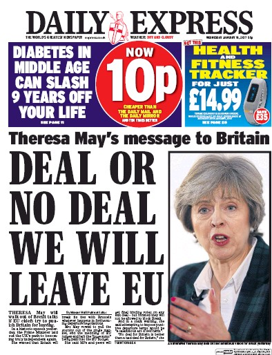 Daily Express (UK) Front Page for 18 January 2017 ... Daily Express