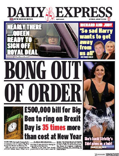Daily Express Newspaper Front Page (UK) for 18 January 2020