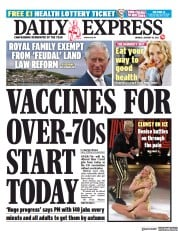 Daily Express front page for 18 January 2021