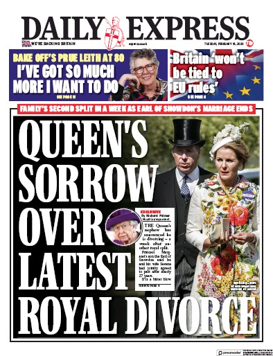 Daily Express Newspaper Front Page (UK) for 18 February 2020