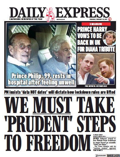 Daily Express Newspaper Front Page (UK) for 18 February 2021