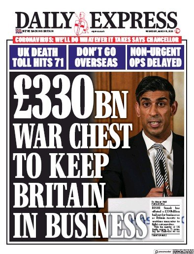 Daily Express Newspaper Front Page (UK) for 18 March 2020