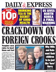 Daily Express (UK) Newspaper Front Page for 18 April 2017