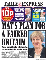 Daily Express (UK) Newspaper Front Page for 18 May 2017