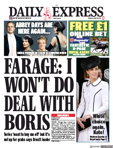 Daily Express Newspaper Front Page (UK) for 18 June 2019