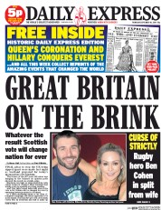 Daily Express (UK) Newspaper Front Page for 18 September 2014