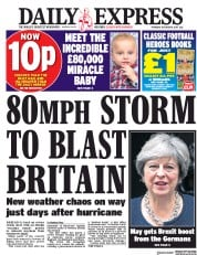 Daily Express (UK) Newspaper Front Page for 19 October 2017
