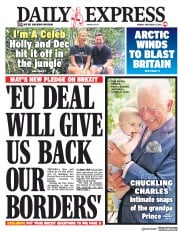 Daily Express (UK) Newspaper Front Page for 19 November 2018