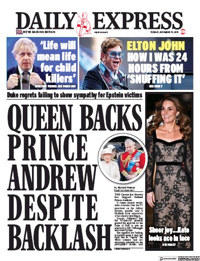 Daily Express Newspaper Front Page (UK) for 19 November 2019