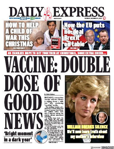 Daily Express Newspaper Front Page (UK) for 19 November 2020