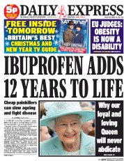Daily Express (UK) Newspaper Front Page for 19 December 2014