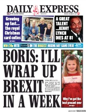 Daily Express (UK) Newspaper Front Page for 19 December 2019