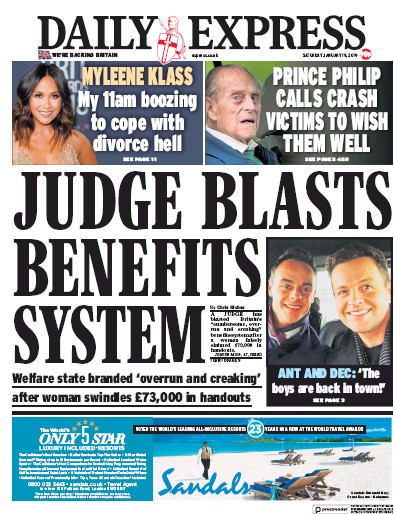 Daily Express Newspaper Front Page (UK) for 19 January 2019