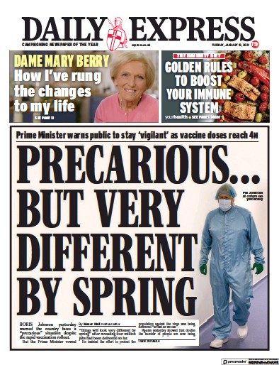 Daily Express Newspaper Front Page (UK) for 19 January 2021