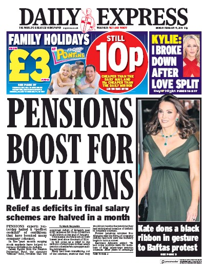 Daily Express Newspaper Front Page (UK) for 19 February 2018