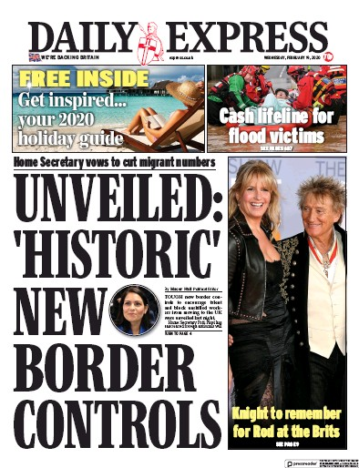 Daily Express Newspaper Front Page (UK) for 19 February 2020