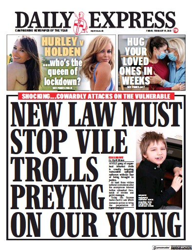 Daily Express Newspaper Front Page (UK) for 19 February 2021
