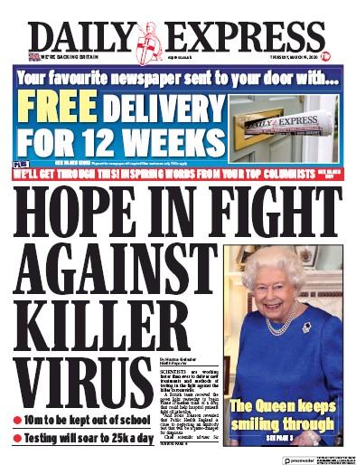 Daily Express Newspaper Front Page (UK) for 19 March 2020
