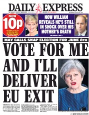 Daily Express (UK) Newspaper Front Page for 19 April 2017