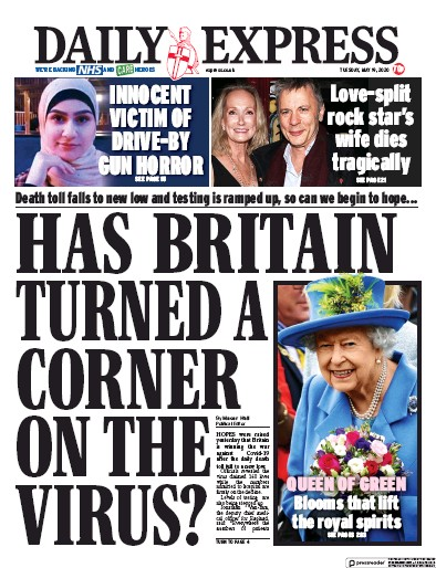 Daily Express Newspaper Front Page (UK) for 19 May 2020