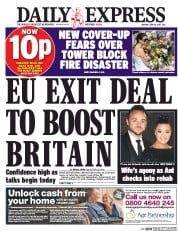 Daily Express (UK) Newspaper Front Page for 19 June 2017