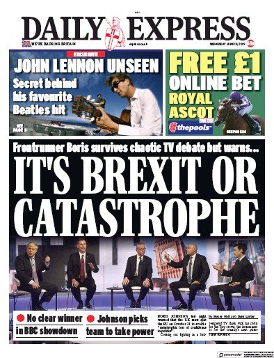 Daily Express Newspaper Front Page (UK) for 19 June 2019