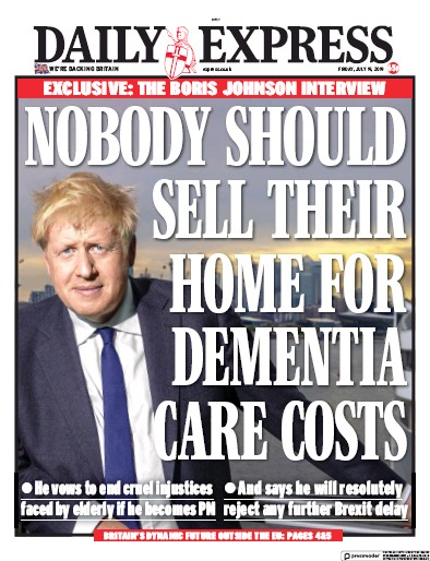 Daily Express Newspaper Front Page (UK) for 19 July 2019