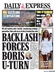 Daily Express () Newspaper Front Page for 19 July 2021