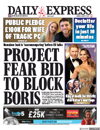 Daily Express Newspaper Front Page (UK) for 19 August 2019