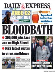 Daily Express (UK) Newspaper Front Page for 19 August 2020