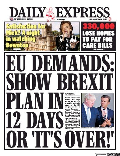 Daily Express Newspaper Front Page (UK) for 19 September 2019
