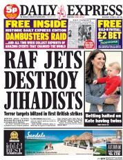 Daily Express (UK) Newspaper Front Page for 1 October 2014
