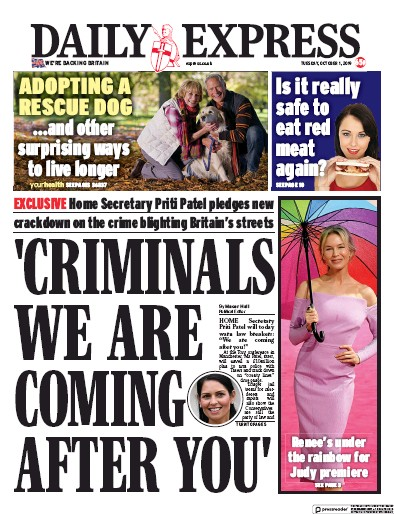 Daily Express Newspaper Front Page (UK) for 1 October 2019