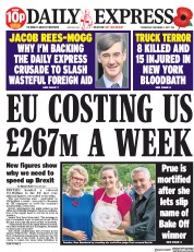 Daily Express (UK) Newspaper Front Page for 1 November 2017