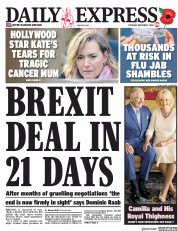 Daily Express () Newspaper Front Page for 1 November 2018