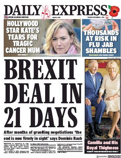 Daily Express Newspaper Front Page (UK) for 1 November 2018