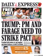 Daily Express (UK) Newspaper Front Page for 1 November 2019