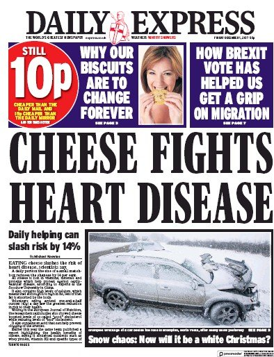 Daily Express Newspaper Front Page (UK) for 1 December 2017