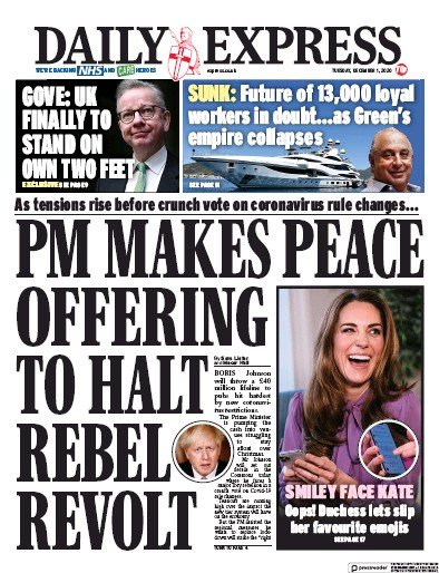 Daily Express Newspaper Front Page (UK) for 1 December 2020